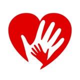 Två händer på hjärta, välgörenhetsymbol, organisation av volontärer, familjgemenskap royaltyfri illustrationer