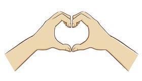 Två händer som bildar ett förälskelsesymbol stock illustrationer