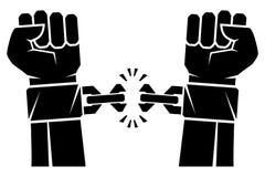 Två händer som gripas hårt om in i rivande kedjor för en näve att de fjättrade symbolet av revolutionen av frihet Människahänder  royaltyfri illustrationer