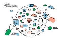 Två händer som rymmer smartphones och symboler av socialt ordnade massmedia, internetnätverk, att prata och ögonblicklig messagin stock illustrationer