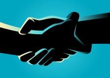 Två händer som starkt rymmer sig stock illustrationer