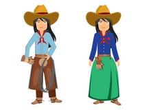 Två härliga cowboyflickor royaltyfri illustrationer
