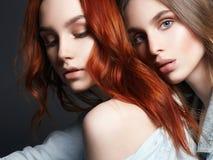 Två härliga flickor älskvärda par Kram av kvinnor Royaltyfria Bilder