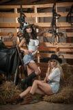 Två härliga flickor, blondin och brunett, med landsblick, sköt inomhus i stallet, lantlig stil Attraktiva kvinnor med hattar Royaltyfria Foton