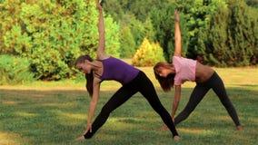 Två härliga flickor som gör yoga arkivfilmer