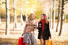 Två härliga kvinnor som har en avslappnande konversation med kaffe Arkivbild