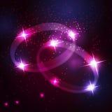 Två härliga ljusa stjärnor för vigselringar royaltyfri illustrationer