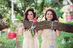 Två härliga roliga systrar utomhus Royaltyfri Fotografi