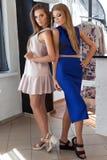 Två härliga sexiga vänner för unga kvinnor i härligt mode klär i studion som poserar för kameran arkivbilder