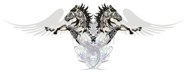 Två hästar med vingar i ett hopp Arkivbild