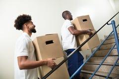 Två hållande kartonger för ung manlig arbetare arkivfoton