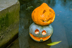 Två halloween pumpor i vattnet Arkivbild