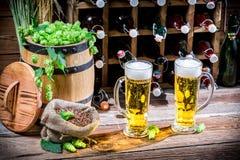 Två halva liter av hemlagat öl Arkivfoto