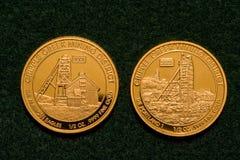 Två halvan uns rena guld- mynt Arkivfoton