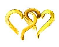 Två hand-drog guld- hjärtor Royaltyfri Bild