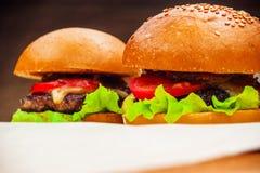 Två hemlagade hamburgare Royaltyfria Foton