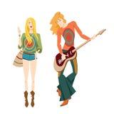 Två hippier som spelar musikinstrument Fotografering för Bildbyråer