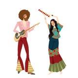 Två hippier som spelar musikinstrument Royaltyfri Bild