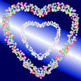 Två hjärtaformmodeller av färgrika bubblor på bakgrund för blå och ljus stråle för lutning också vektor för coreldrawillustration stock illustrationer