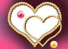 Två hjärtor från pärlor vektor illustrationer