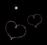 Två hjärtor från sparkler Royaltyfri Bild