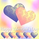 Två hjärtor med den blom- prydnaden på en suddig bakgrund stock illustrationer