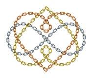 Två hjärtor med oändlighetssymbol av vävde samman kedjor För evigtförälskelsetecken också vektor för coreldrawillustration royaltyfri illustrationer