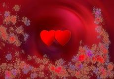 Två hjärtor och blommor royaltyfri illustrationer