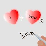 Två hjärtor och en penna skriver dig plus mig jämlikeförälskelse Royaltyfri Foto