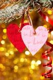 Två hjärtor på julgrantree förgrena sig Arkivbild