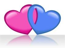 Två hjärtor, rosa färger och blått för dag för valentin` s vektor illustrationer