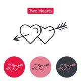 Två hjärtor som trängas igenom med pilen vektor illustrationer