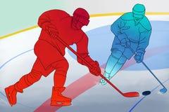 Två hockeyspelare med pinnar på is Royaltyfri Fotografi