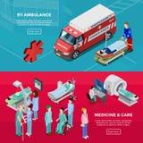 Två horisontalbaner för isometriskt sjukhus vektor illustrationer