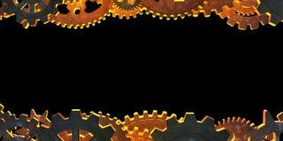 Två horisontallinjer av kugghjulet. Vektor Illustrationer