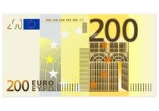 Två hundra eurosedel Royaltyfria Foton