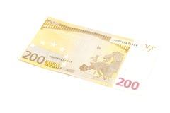 Två hundra eurosedel Fotografering för Bildbyråer