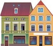 Två hus på gatan Fotografering för Bildbyråer