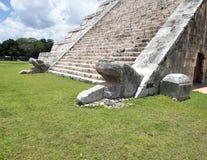 Två huvud av orm på den El Castillo pyramiden i Chichen Itza Arkivbilder