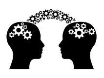 Två huvud som delar kunskap royaltyfri illustrationer