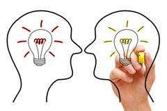 Två idéer i konfrontation arkivbild