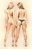 Två idrotts- flickor i bikini Royaltyfria Bilder