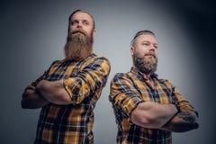Två iklädda brutala skäggiga män en plädskjorta royaltyfria foton