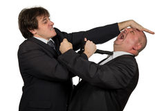 Två ilskna affärskollegor under ett argument som isoleras på vit bakgrund Royaltyfria Foton