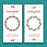 Två inbjudankort med härliga blom- kransar Fotografering för Bildbyråer