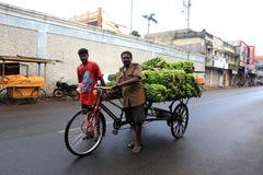 Två indiska män hjälper till transportsträckan en bananlastbil på vägen i den Pondicherry staden Royaltyfri Foto