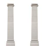 Två isolerade arkitektoniska kolonner på en vit bakgrund Royaltyfri Bild