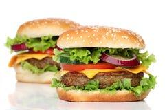 Två isolerade läckra hamburgare royaltyfria foton