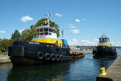 Två jättegruppbogserbåtar royaltyfri foto
