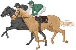 Två jockey på deras kapplöpningshästar Royaltyfria Foton
